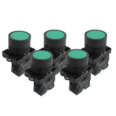5pcs 22mm 1 NO N/O Green Sign Momentary Push Button Switch 600V 10A ZB2-EA31