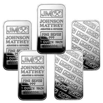 1 oz Johnson Matthey Silver Bars - 5 oz Total .999 fine (New, Lot of 5) Sealed