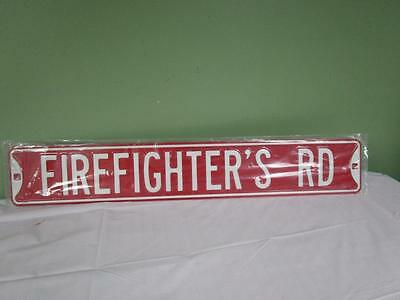"""FIREFIGHTER'S ROAD STREET SIGN - Large 36"""" Heavy metal embossed"""