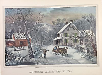 """1952 Vintage Currier & Ives """"AMERICAN HOMESTEAD WINTER"""" LOVELY COLOR Lithograph"""