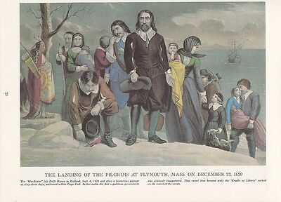 """1974 Vintage Currier & Ives """"PILGRIMS LANDING at PLYMOUTH"""" MAYFLOWER COLOR Litho"""