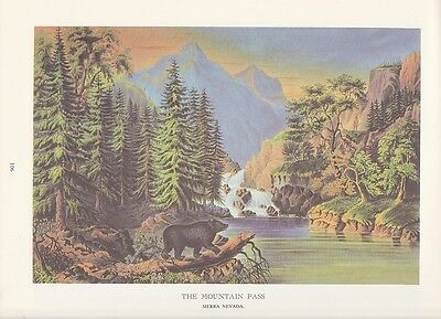 """1974 Vintage Currier & Ives FRONTIER """"SIERRA NEVADA MTN. PASS"""" COLOR Lithograph"""