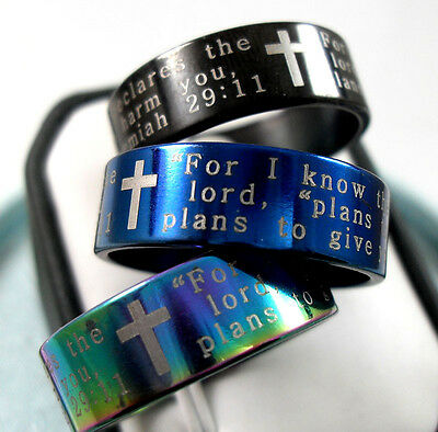 wholesale 36  Jeremiah 29:11 new bible cross Stainless steel Rings  Jewelry lots