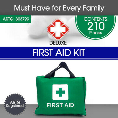 GREEN Deluxe 210pcs First Aid Kit Family Supplies Medical Workplace Travel Set