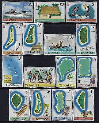 1976 Tuvalu New Definitives (Incl $5 Stamp) Complete Set Of 15 Mint Mnh/muh