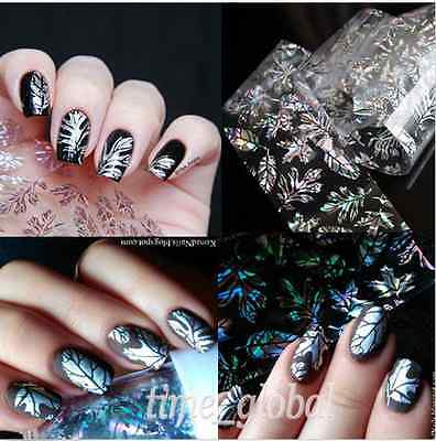 Nail Art Transfer Foils Sticker Holographic Wrap Feather Leaves Decal Tips