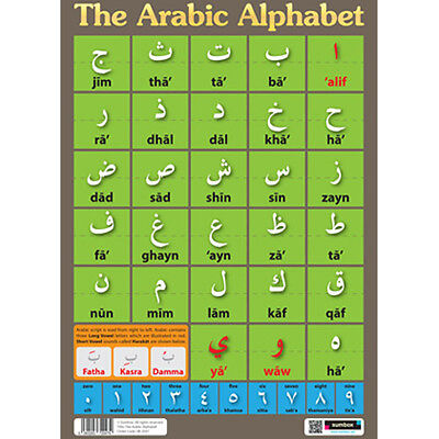 Sumbox Learn Arabic Alphabet & Numbers Educational Language Poster Madrassah NEW