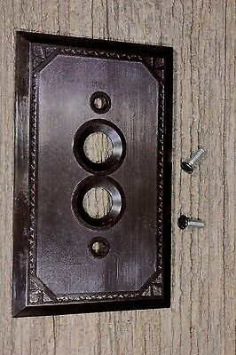 single push button wall Switch Plate brown Bakelite vintage 1900's new old stock