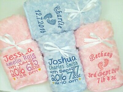 Personalised Luxury Embroidered Baby Blanket Soft Fluffy Blue/Pink Boy Girl Gift