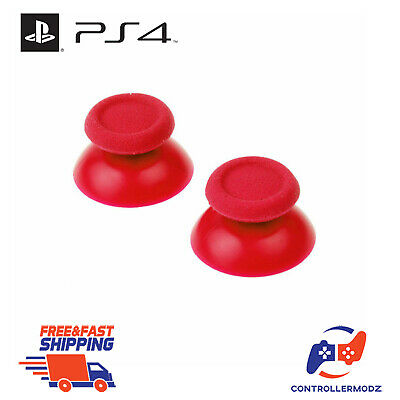2 x Analogue Replacement Thumb sticks Grips Sony PS4 Analog Controllers - Red