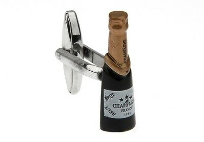 Champagne Bottle Cufflinks Bubbly New Years Wedding Fancy Gift Box Free Ship USA