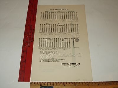 Rare Original VTG 1875 Burs Mouth Mirrors Dental Apparatus Advertising Art Print