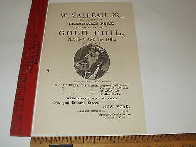 Rare Orig VTG 1875 W Valleau Jr Gold Foil Dental Apparatus Advertising Art Print
