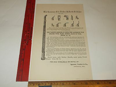 Rare Orig VTG 1875 Laurence File Holder Dental Apparatus Advertising Art Print