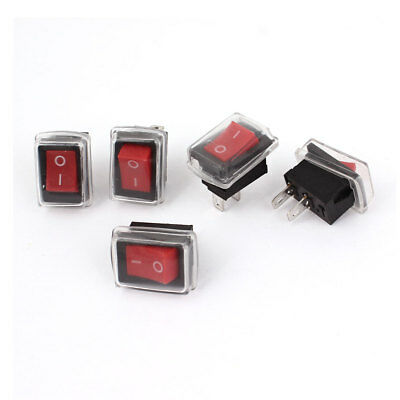 5PCS AC 250V/6A 125V/10A SPST 2 Pin ON/OFF Rocker Switch w Waterproof Cover