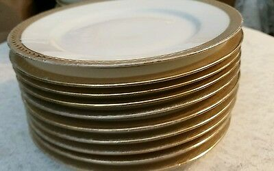 Royal Bayreuth Bavaria set of 10 gold & white 6 inch plates gold pattern border