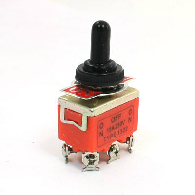 AC250V 15A ON/OFF/ON 3 Way DPDT 6-Terminals Toggle Switch w Waterproof Cap