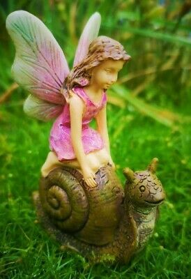 Miniature Garden Fairy on Racing Snail MG 13   Faerie