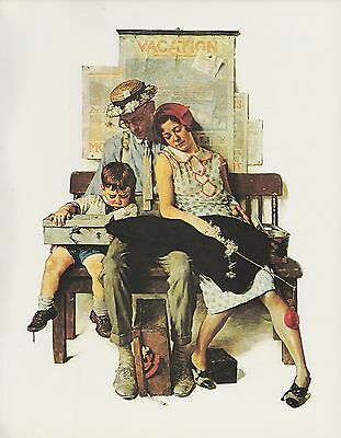 "1977 VINTAGE ""HOME FROM VACATION"" NORMAN ROCKWELL MINI POSTER COLOR Lithograph"