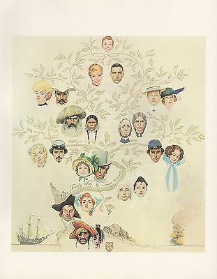 "1977 VINTAGE ""A FAMILY TREE"" by NORMAN ROCKWELL MINI POSTER COLOR Lithograph"