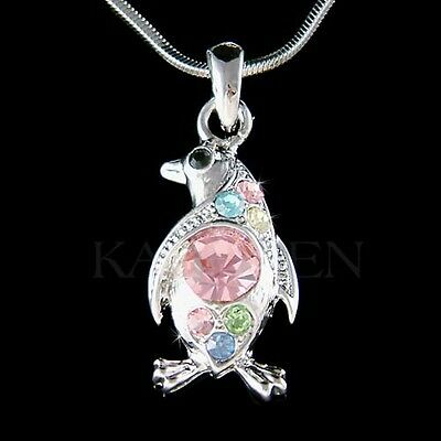 ~Rainbow Penguin made with Swarovski Crystal Galápagos Vacation Necklace Jewelry