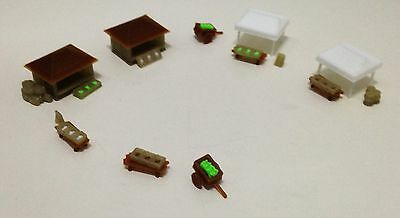 Outland Models Railway Miniature Food Shop Market and Accessories Set Z Scale
