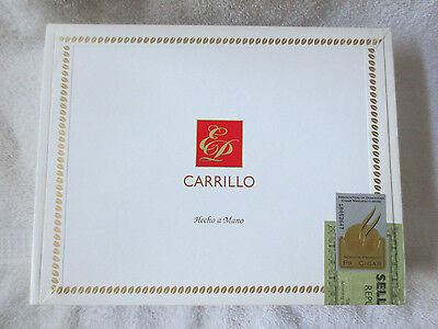 Carrillo 20 Divinos White Paper Covered Wood Cigar Box   - Beautiful !!!