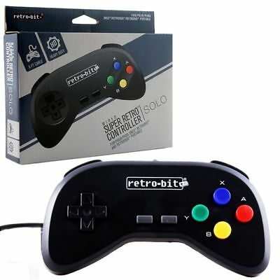 Retro-Bit Wired Controller For Super Nintendo Entertainment System Black