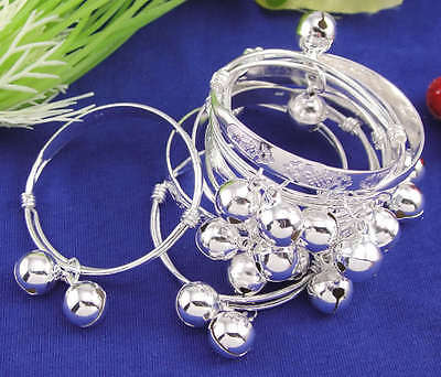 Lucky Silver Baby Infant Chinese Knot Bell Bracelet Bangle Anklet 10pcs