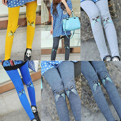 Fashion Womens Cotton Embroidery Cute Cat Leggings Stretch Tight Pants 6 Colors