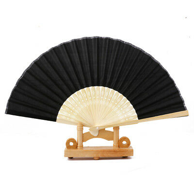 Women Ladies Chinese cloth Bamboo Folding Hand Held Dance Fan Party Wedding