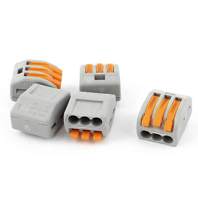 5 Pcs AC 250V 32A Fast Cable Push in 3 Port Wire Connector Safe Terminal Block