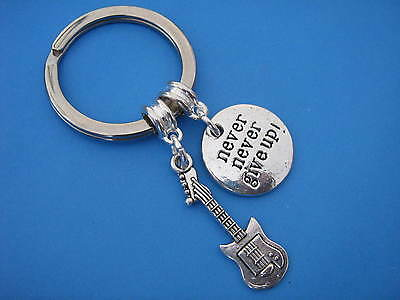 Guitar Keyring Inspirational Never Give Up Charm Guitar Keychain