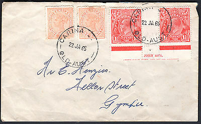 1965 QLD Queensland 1d QV & 1 1/2d KGV Red John Ash Imprint Cover CARINA GYMPIE