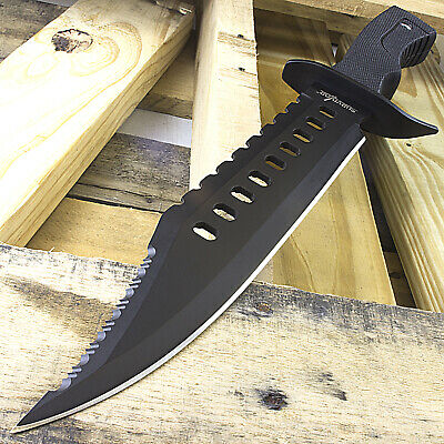 "17"" SURVIVOR BOWIE SURVIVAL HUNTING KNIFE w/ SHEATH MILITARY Fixed Blade Combat"
