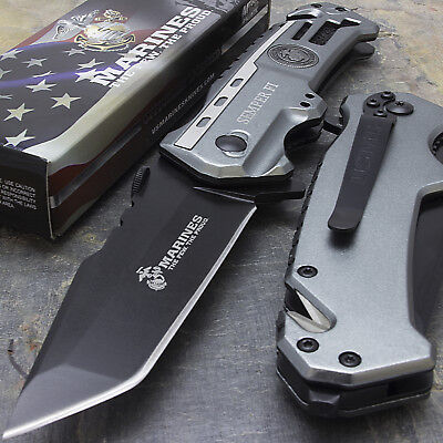 "8.25"" MTECH USMC TANTO SPRING ASSISTED TACTICAL FOLDING KNIFE Blade Pocket Open"