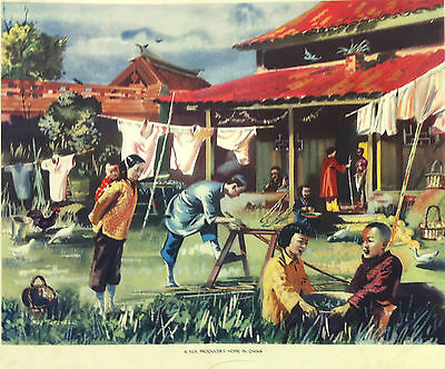 Rare Macmillan School Poster - Silk Producers Home, China - signed Mac Tatchell