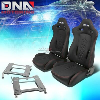 Nrg Black Reclinable Racing Seats+Full Stainless Bracket For 350Z Z33 Fairlady