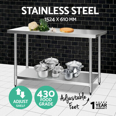 1524x610mm Commercial 430 Stainless Steel Kitchen Work Bench Food Prep Table Top