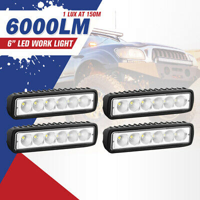 4x 6inch 30W LED Work Light Bar Driving Lamp Flood Truck Offroad  4WD