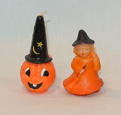 Vintage Gurley HALLOWEEN Candle and Wax Figure Jack o'Lantern and Witch Girl