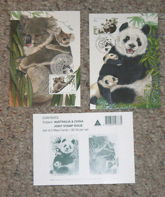 Australia Maxi Card set AUSTRALIA & CHINA joint issue PANDA KOALA BEARS maximum