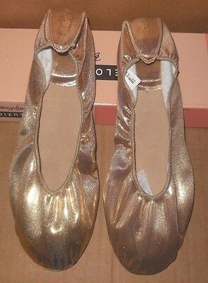 New/box Metallic Gold Praise Shoes Body wrappers Veena 507A LIturgical Slipper