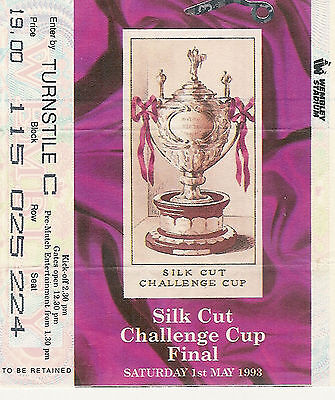 Widnes v Wigan 1 May 1993 Challenge Cup Final at WEMBLEY RUGBY LEAGUE TICKET