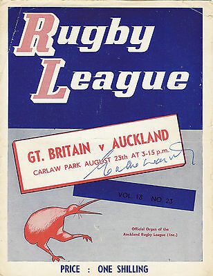 Auckland v Great Britain Eddie waring autograph on the front cover 23 Aug 1966