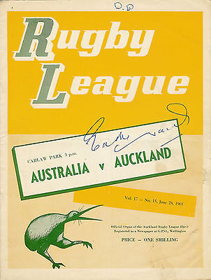 Auckland v Australia Eddie Waring autograph on the front cover 28 Jun 1965