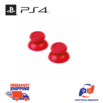 2 x Hardened Replacement Analogue Thumb Stick Grip For Sony PS4 - Red