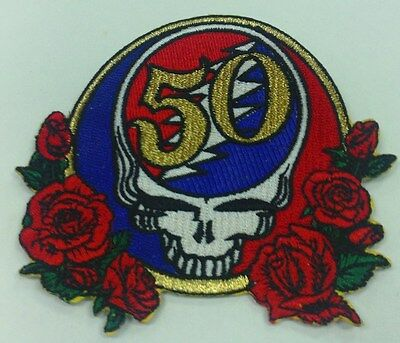 """5Oth Anniversary Grateful Dead Embroidered Steal Your Face Metallic Patch """""""