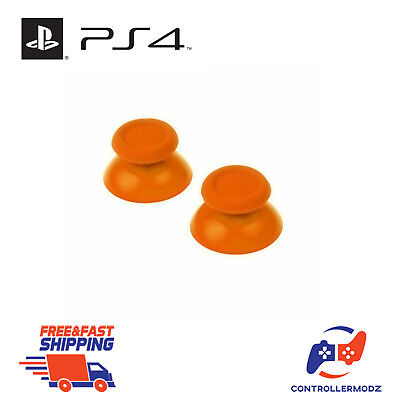 2 x Hardened Replacement Analogue Thumb Stick Grip For Sony PS4 - Orange