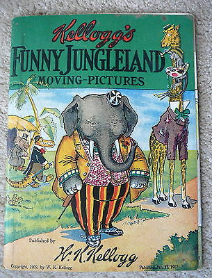 Kellogg's Cereals - 1909 Premium Funny Jungleland Moving Pictures Book - Vg